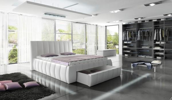 "Designer Doppelbett ""Rimus"" Bett Polsterbett mit Bettkasten + Lattenrost ! Grösse frei wäh"