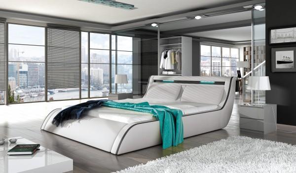 "Designer Doppelbett ""Meran"" Bett Polsterbett mit Bettkasten + Lattenrost ! Grösse frei wäh"