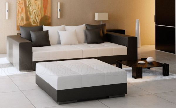 Big Sofa XXL inkl. Hocker Kunstleder