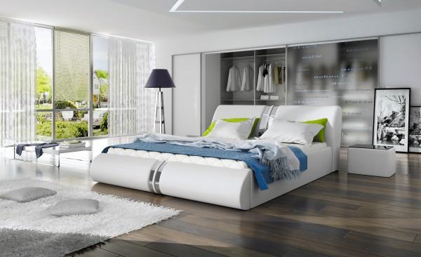 "Designer Doppelbett Bett ""New Haven"" Polsterbett mit Bettkasten + Lattenrost ! Grösse frei"