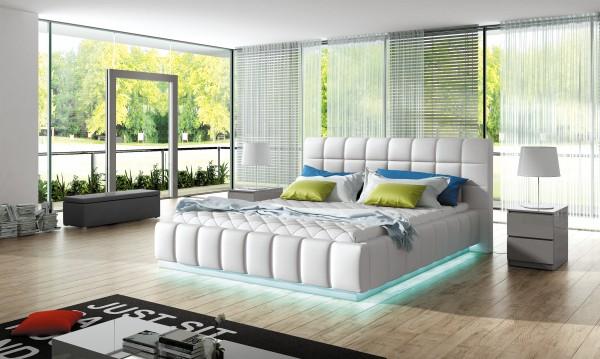 "Designer Doppelbett ""Arona"" Bett Polsterbett mit Bettkasten + Lattenrost + LED ! Grösse fr"