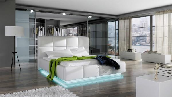"Designer Doppelbett ""Anzio"" Bett Polsterbett mit Bettkasten + Lattenrost + LED ! Grösse fr"