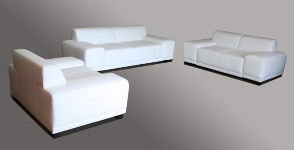 3-2-1 Sitzgarnitur Kunstleder Weiß