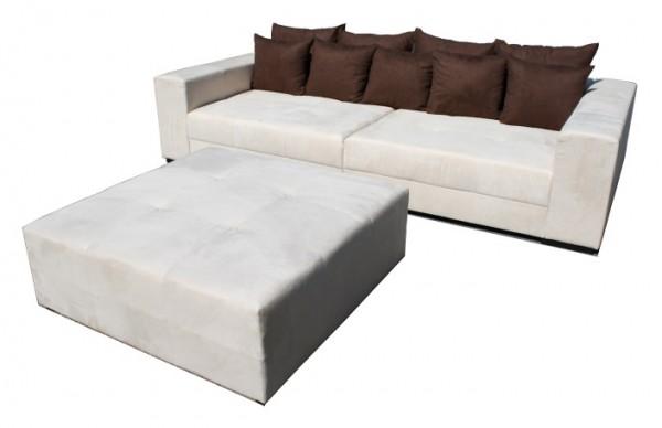 Big Sofa XXL inkl. Hocker Alcatex Beige