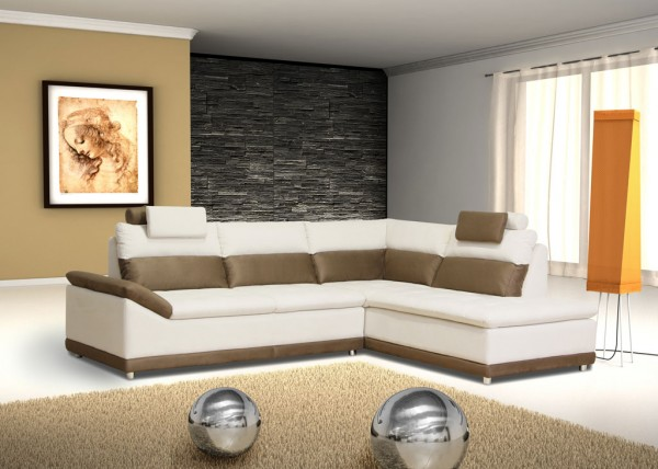 Design Ecksofa Venezia (270 x 218 cm) Farbe und Bezug frei wählbar!