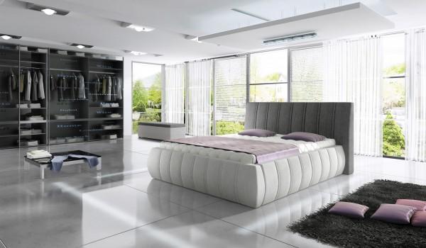 """Designer Doppelbett """"Optimus"""" Bett Polsterbett mit Bettkasten + Lattenrost ! Grösse frei w"""
