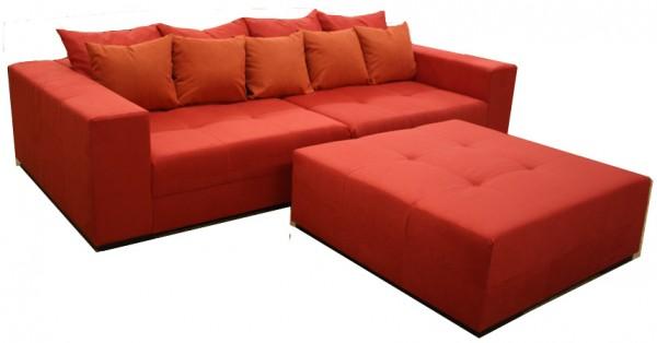 Big Sofa XXL inkl. Hocker Alcatex Rot